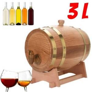 3 L Small Oak Wine Barrel Cask Whiskey Brandy Rum Port Keg Dispenser Wood Stand