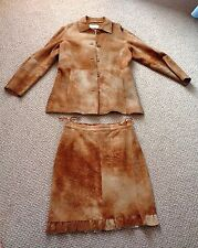 $999 Nice 3-Piece Brown Leather SUEDE Outfit: PANTS / SKIRT / JACKET Womens W XS