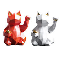 Lucky Cat Resin Figurine Lifelike Animal Sculpture Statue Home Decor