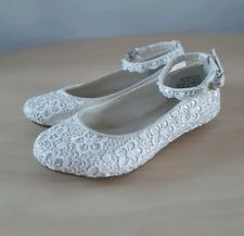 New MONSOON Girls White Floral Lace Ballerina Flats Shoes__UK 8 Infant / EUR 25