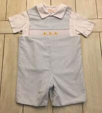 ANAVINI Blue White Seersucker Striped Shortall & Shirt ~ Smocked Ducks ~ Size 4T