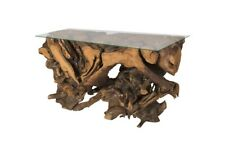 """52"""" L Console Table Freeform Solid Wood Stainless Steel Risers Glass Top Modern"""