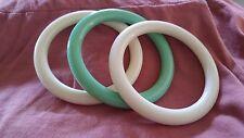 Vintage LOT 3 Bangle Bracelet Plastic Lucite TUBE Cream Mint Green AVON 70's