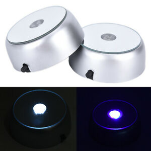1pc 4 LEDs Luminous Base Light Crystal Glass Display Colorful Round Stand B _cd