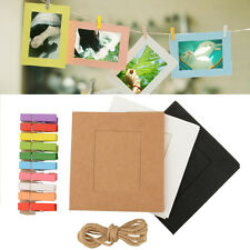 10X Paper Photo Frame DIY Art Picture Hanging Album With Rope Line Clips 3/6inch