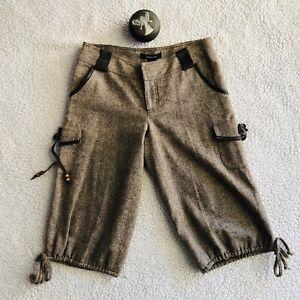 Arden B Brown Capri Shorts Lined Wool Blend Leather Belt Hole Sz 2  NWT