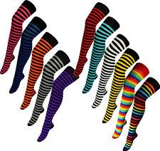 Ladies OVER KNEE Cotton Blend Thigh High Stripe Socks Multi Striped UK 4-7