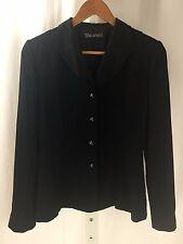 TAHARI Womens Black Diamond Button Blazer Jacket Size 4