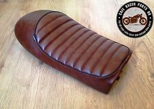 BROWN LEATHER LOOK CAFE RACER SEAT WITH MULTI FIT BRACKETS