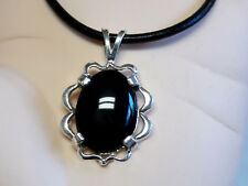 NATURAL 8ct black Onyx Pendant 925 sterling silver leather necklace USA made