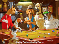 "Beagle & Dogs Playing Pool 8.5x11"" Photo Print Arthur Sarnoff Funny Dog Painting"