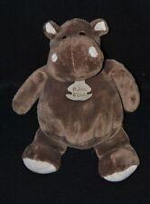 Peluche doudou hippopotame HISTOIRE D'OURS brun marron blanc crème 25 cm NEUF
