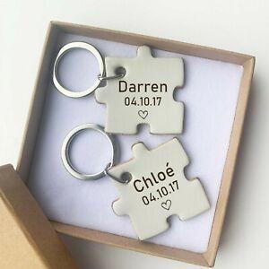 His & Hers Personalised Pair of Keyrings Boyfriend Best Friend Gift Anniversary
