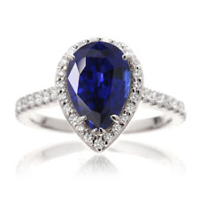 4.40Ct Pear Cut Blue Sapphire Engagement Diamond Ring In 14K White Gold