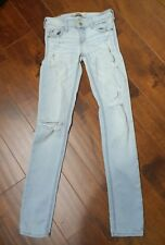 HOLLISTER Jeans Size 1R Woman's Distressed  Destroyed Super Skinny Stretch Fit
