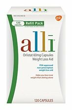 2 Pack - alli Weight Loss Aid Orlistat 60 mg Capsules,Refill Pack 120 Count Each
