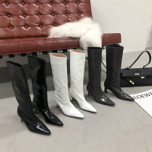 Women's knee boots patent leather pointed toe thick high heels winter 2021