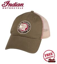 GENUINE INDIAN MOTORCYCLE CIRCLE ICON TRUCKER HAT SNAP BACK GREEN SCOUT CHIEF