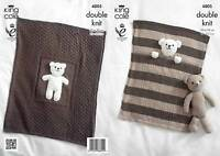 Double Knitting DK Pattern King Cole Pram or Cot Blanket & Teddy Bear Toy 4005