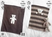 Double Knitting DK Pattern King Cole Pram or Cot Blanket & Teddy Bear Toy 4005
