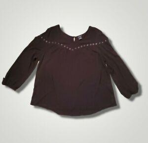 Torrid Peasant Blouse Top 3 3X Black Rayon Crepe Grommet Embellished Long Sleeve