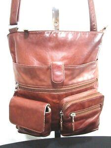 ILI New York Medium Size Brown Leather Crossbody Handbag