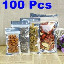 100 Pcs Resealable Poly Clear Membrane Bag Zip lock Heat Seal Smell Proof Bag