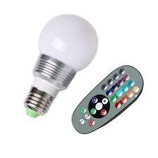 E27 3W RGB LED 16 Couleur Globe Ampoule Lampe Bulb + télécommande IR touche 24