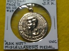 John F. Kennedy 1963 Ask not looped medal