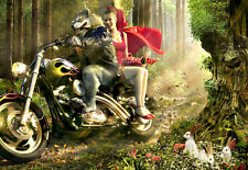 The wolf with the red Riding Hood on a motorcycle Bike     Poster Print