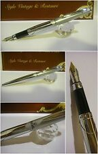 Stilografica Regal British Stainless glossy and satin cap Fountain Pen - Nib Mf