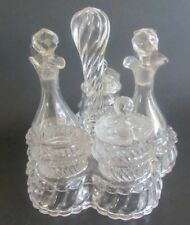Ancien Grand cristal BACCARAT service à condiments 2 flacons 3 pots