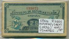 SPAIN ASTURIAS Y LEON BUNDLE 25 NOTES 25 CENTIMOS (1936) P S601 AVF/VF