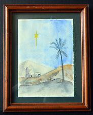 Signed Watercolor Painting Desert Landscape w. Houses Star Framed Wall Art