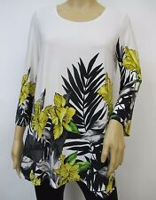 Off-white & Yellow 3/4 Flare Sleeved Floral Border Printed Tunic Top Sz 1X