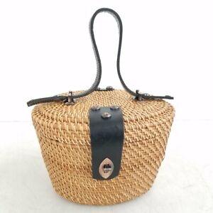 Patricia Nash Black Leather & Wicker Basket Bucket Purse