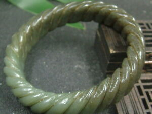 Antique Chinese Nephrite Hetian OLD JADE Twisted wire Bracelet