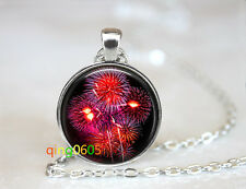 A Firework Red Sparkle glass dome Tibet silver Chain Pendant Necklace wholesale