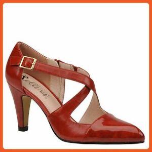 """ESPADRILLE Bellini PHILADELPHIA Pointy Toe Side Zipper 4"""" Pumps Red Patent 13 W"""