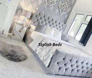 Plush Velvet Chesterfield Monaco Bed & Memory Foam Matress Available In All Size