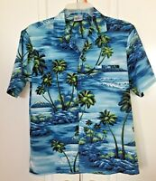 Royal Creations Men's M Blue Hawaiian Shirt Ocean Surf Board Palm Tree Tropical