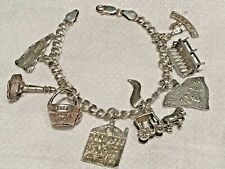 STERLING SILVER STATE OF SOUTH CAROLINA CHARMS BRACELET DOUBLE CURB LINK 8 CHARM