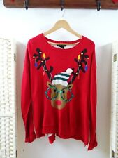 UNITED STATES SWEATERS CHRISTMAS acrylic cute red reindeer jingly jumper L
