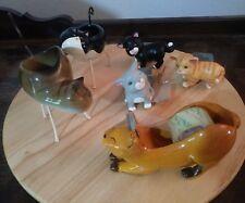 Lot of Figi Kitty Cat Stuff Holders 2 Tea Light T-Lite 1 Tape 3 Pot Risers Cute!