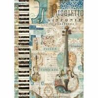 DFSA4324 Music Violin Stamperia Rice Paper A4 Decoupage Mixed media