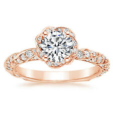 Rose Gold Bands Womens Engagement Ring Certified 1.10 Ct Moissanite Solid 14k
