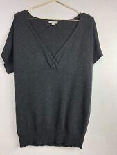 Garnet Hill Sweater M Medium Charcoal Grey V-Neck Wool Blend Short Sleeve F9