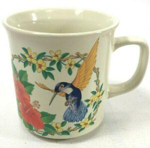 HUMMINGBIRD In Flowers Mug Off White Vintage Multicolor Made in Japan