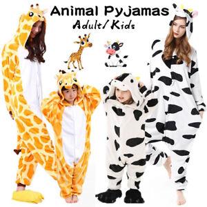 Kigurumi Animal Pajamas Adults Cows Giraffe Onesi10 Kids Pyjamas Sleepwear Gifts