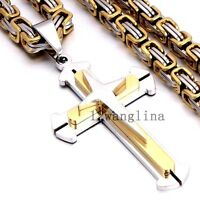 6MM Men Stainless Steel Cross Pendant Gold Silver Black Byzantine Chain Necklace